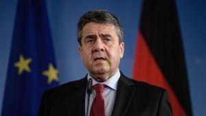 Saksan ulkoministeri Sigmar Gabriel EU:n ja Saksan lippujen edessä.