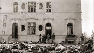 Teloitettuja ja kaatuneita Näsilinnan itäpäädyssä.