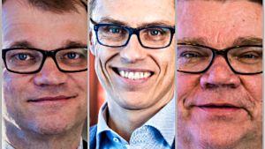 Juha Sipilä, Timo Soini och Alexander Stubb.