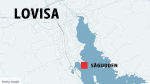 Karta över Lovisa, med Sågudden utprickad.