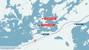 Karta med Äspholmen och Bengtsår utmärkt.