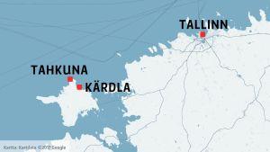 Karta över norra Estland inklusive Dagö