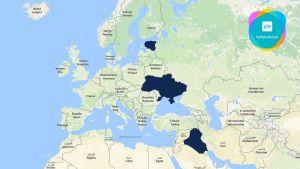 En karta över Europa och stora delar av Mellanöstern och Nordafrika.