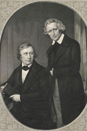 Titelsidan till Deutsches Wörterbuch, gravyr efter dagerrotypi av Hermann Biow, 1850.