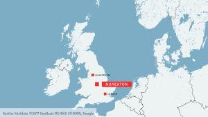 Karta som markerar Nuneaton, Manchester och London.