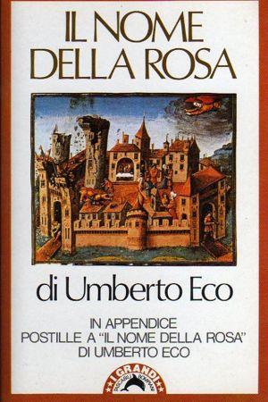Pärmbilden till italienaren Umberto Ecos debutroman Il Nome della rosa, utkommen 1980.