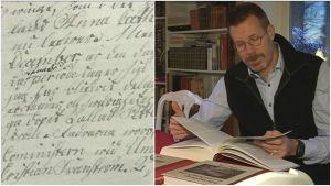 En sida ur Pehr Stenbergs självbiografi. På den högra halvan av bilden läser Fredrik Elgh i Stenbergs levernesbeskrivning.