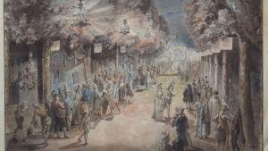 Marknaden i Drottningholms trädgård efter tournoien 1785. Omslagsbild på del två av Pehr Stenbergs levernesbeskrivning utgiven 2016. Akvarellerad pennteckning av Elias Martin (Nationalmuseum).