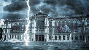 En manipulerad bild av konstmuseet Ateneum där gatan är översvämmad och en stor blixt slår ner i vattnet.