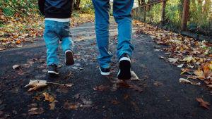 Benen på en pappa och en liten pojke på promenad.