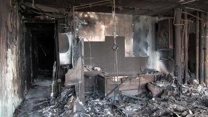 Bilder inifrån det brandhärjade Grenfell Tower.