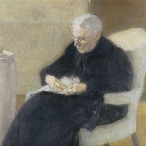 Schjerfbecks målning, I hemmet (Olga Schjerfbeck, konstnärens mor), 1903.