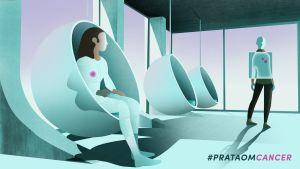 Grafisk bild av en man och en kvinna i ett hem i en framtidsmiljö.