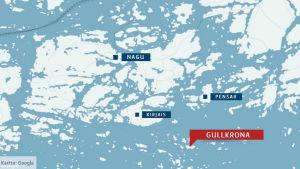 Blågrå karta som visar Gullkrona, Kirjais, Pensar och Nagu.