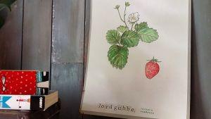 En plansch med en handmålad jordgubbsplanta med en handtryckt text.