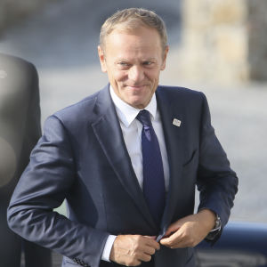 Europeiska rådets ordförande Donald Tusk anländer till EU-toppmötet i Bratislava.