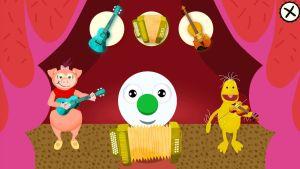 BUU-klubbstämpeln, Isa Gris och Vimmel spelar instrument i BUU-klubbens applikation.