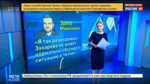 En statlig rysk journalist kritiserar Mikkonens ordväxling med Marija Zaharova om de homosexuellas situation i Tjetjenien.