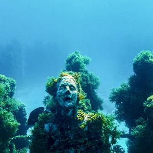 Scen ur dokumentären Inn sæi - en staty på havets botten.