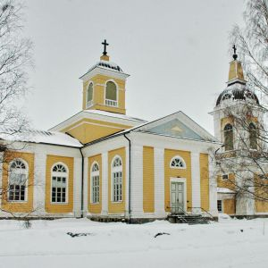exteriör Malax kyrka, vinter