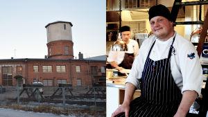 En bild som består av två bilder - lokstallet i Karis till vänster och en bild av Michael Björklund i kockutstyrsel till höger.