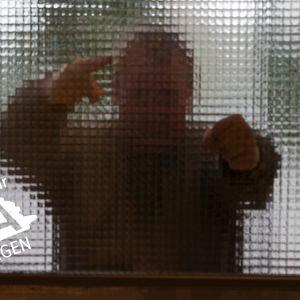 Kille står bakom en dörr och pekar och ser hotfull ut