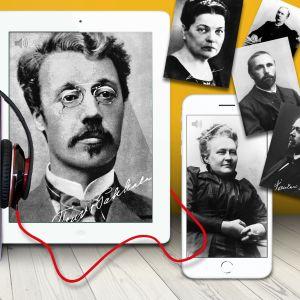 Tarinatarha-podcast-luentasarjan kirjailijoiden kuvia, mm. Minna Canth, Teuvo Pakkala ja Santeri Ivalo