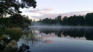 Järvi kesäyönä, sumua järven pinnalla