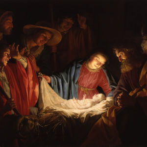 Målning av Jesusbarnet i krubban omgiven av Jungfru Maria, Josef och herdar.