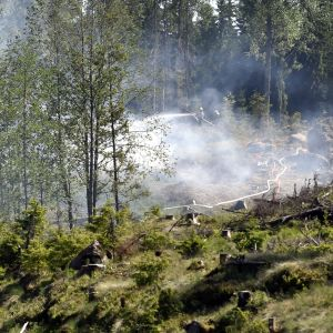 Markbrand på kalhygge i Forsby i Lovisa i maj 2018