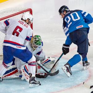 Sebastian Aho i hockey-VM matchen Finland-Norge 2017.