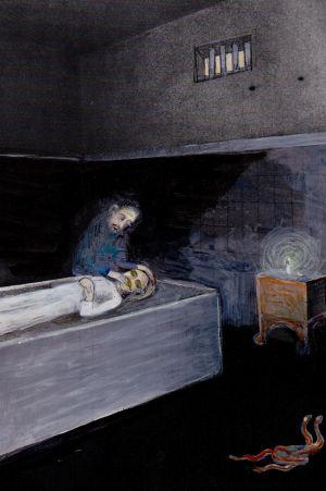 Anna Höglunds illustration till sagan De tre ormbladen, avbildad i Andréa Räders biografi om bröderna Grimm. 201