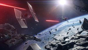 Bild från spelet Star Wars: Battlefront II som avbildar en rymdstrid mellan olika rymdskepp