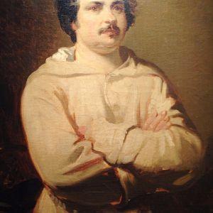 Ranskalainen kirjailija Honore de Balzac; Henkilökuva,  Louis Boulanger'in alkuperäinen maalaus sijaitsee  Beaux-Arts de Tours museossa Ranskassa.