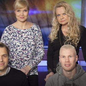 Lapsuuteni pakopaikka. Sari Valton vieraina toimittaja Kimmo Ohtonen, nyrkkeilijä Jussi Koivula sekä jazzpianisti Iro Haarla.