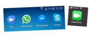 Viiden videopuhelupalvelun kuvakkeet kännykän näytöllä: Google Duo, WhatsApp, Facebook Messenger, Skype, FaceTime