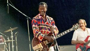 Chuck Berry på scenen i Stallörsparken i Ekenäs 1990.