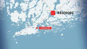 Karta över Syndalen och Raseborg.