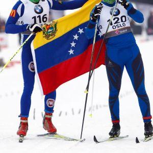 Cesar Baena och Bernardo Baena under skid-VM i Holmenkollen 2011.