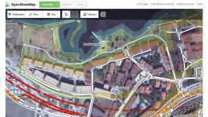 OpenStreetMapin työkalunäkymä.