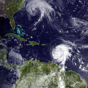 Satellitbild över Karibiska havet.