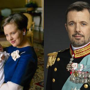 kvinna med baby samt porträtt på man i uniform med ordnar