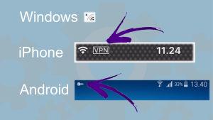 VPN-yhteyden erilaiset kuvakkeet käyttöjärjestelmien puhelimissa.