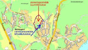 En karta som visar var det planeras nya tomter i Ekenäs centrum.