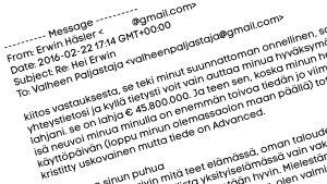 Kuvakaappaus huijaussähköpostista