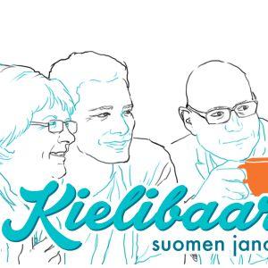 Kielibaarin nettisivujen kuvitusta, piirroskuva pöydän ympärillä kahvia juovista ihmisistä