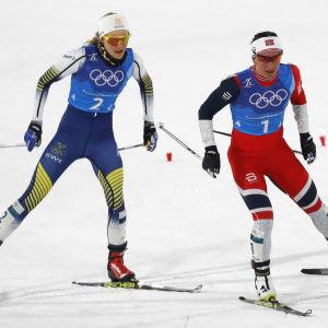Stina Nilsson och Marit Björgen i OS