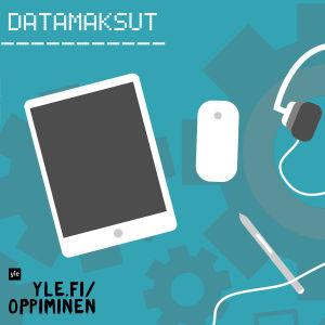 graafinen kuva, jossa mm. tabletti, kännykkä, kuulokkeet ja näppäimistö
