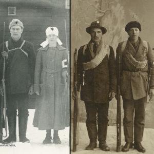 Kolmen kuvan kollaasi: neljä punakaartilaista aseineen valokuvastudiossa Turussa, sairaanhoitajat Punakaartilaiset Tyyne Vilkman ja Martta Leimu sekä Vilho Ahlberg rakennuksen edessä Kaukaalla, kaksi punakaartilaista aseineen valokuvausstudiossa.