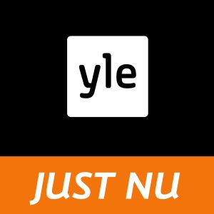 Yle-logo på svart bakgrund med texten just nu